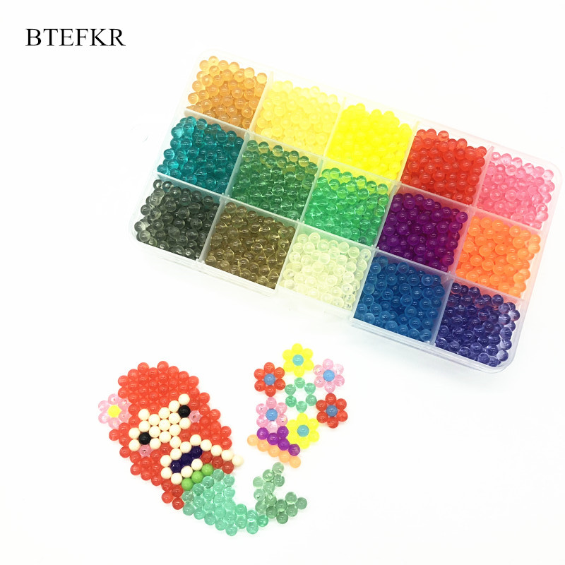 200Pcs/Bag Crystal Water Spray Beads Puzzle Toys For Children Juguetes 15 Colors Beads Educational Toys 3D Puzzle Jigsaw