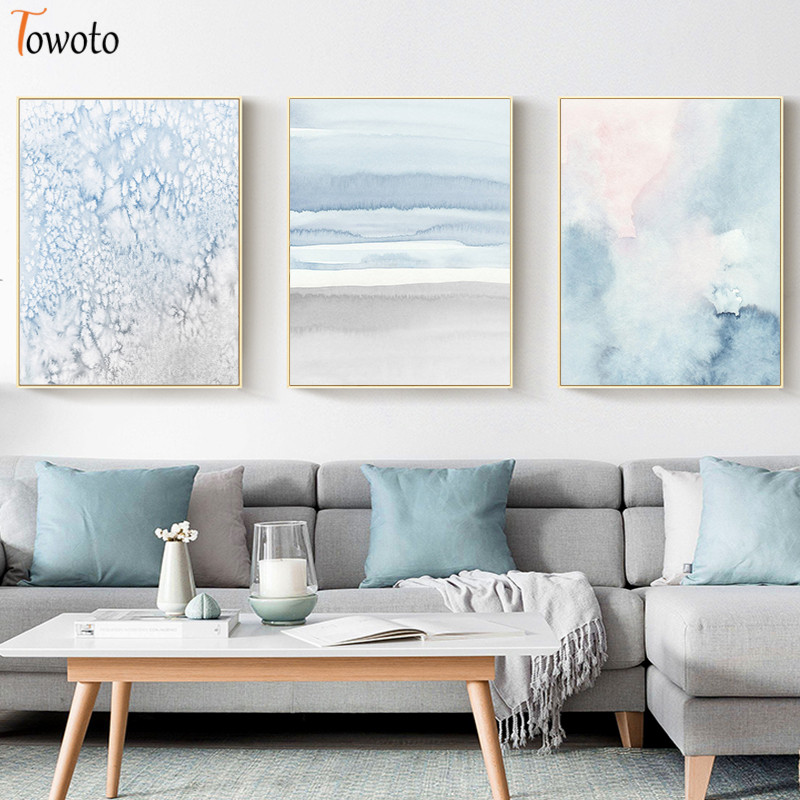 Abstract Canvas Painting Modern Watercolor Print Poster Blue And Gray Wall Art Neutral Wall Pictures For Living Room No Frame