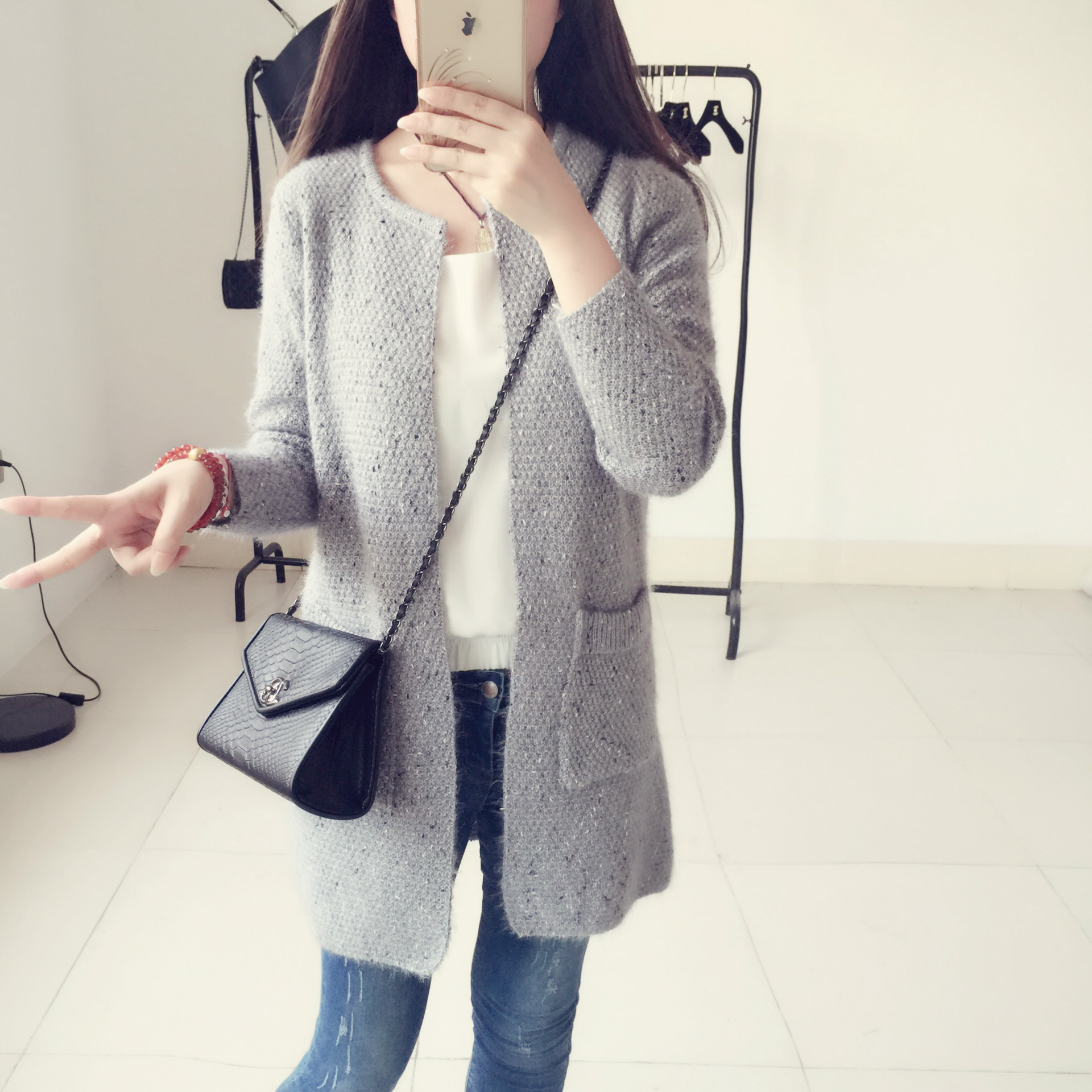 2015 New Winter Long Cardigan Sweater Coat Female Wool Loose Long ...