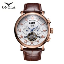 Reloj mecánico automático Tourbillon, reloj deportivo de cuero, reloj de pulsera Retro de negocios Casual para Hombre