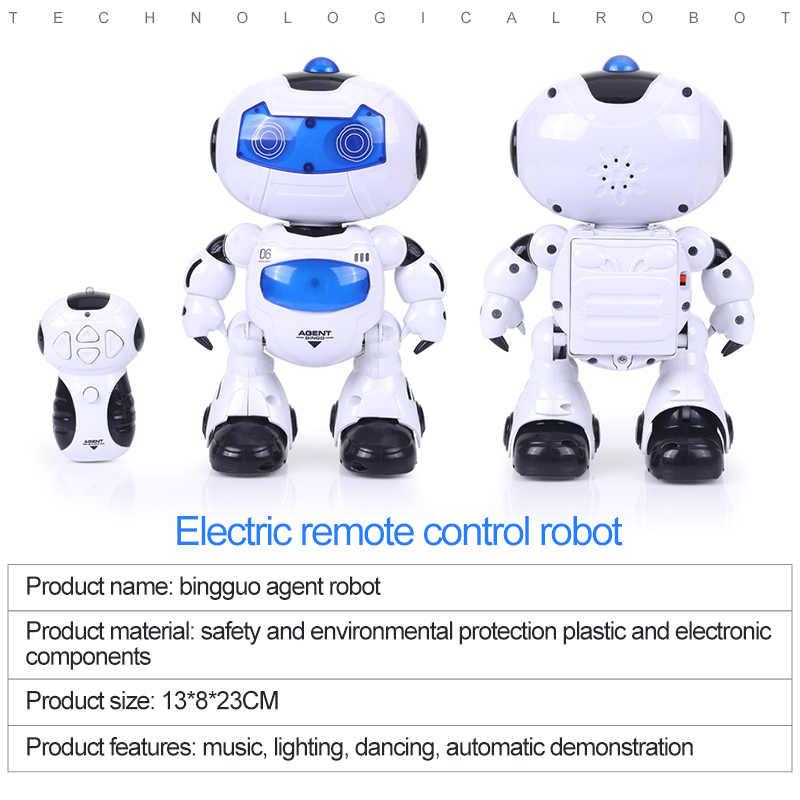 Электрический RC управление глаз лампа головы качели робот пение освещение Танцы Прогулки милый крутой гуманоид для детей Рождественский подарок игрушки