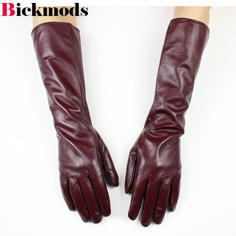 Long Sheepskin Gloves Female Long Division Refers Brown Leather Gloves Thin Cashmere Armband Warm Jacket Free Shipping