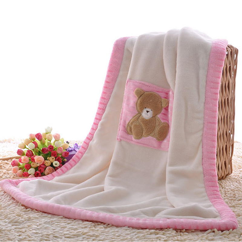 Baby Blanket Thermal Coral Fleece Bear Blanket Infant Swaddle Nap Receiving Stroller Wrap For Newborn Baby Bedding Bebe Blankets free shipping infant children cartoon thick coral cashmere blankets baby nap blanket baby quilt size is 110 135 cm t01