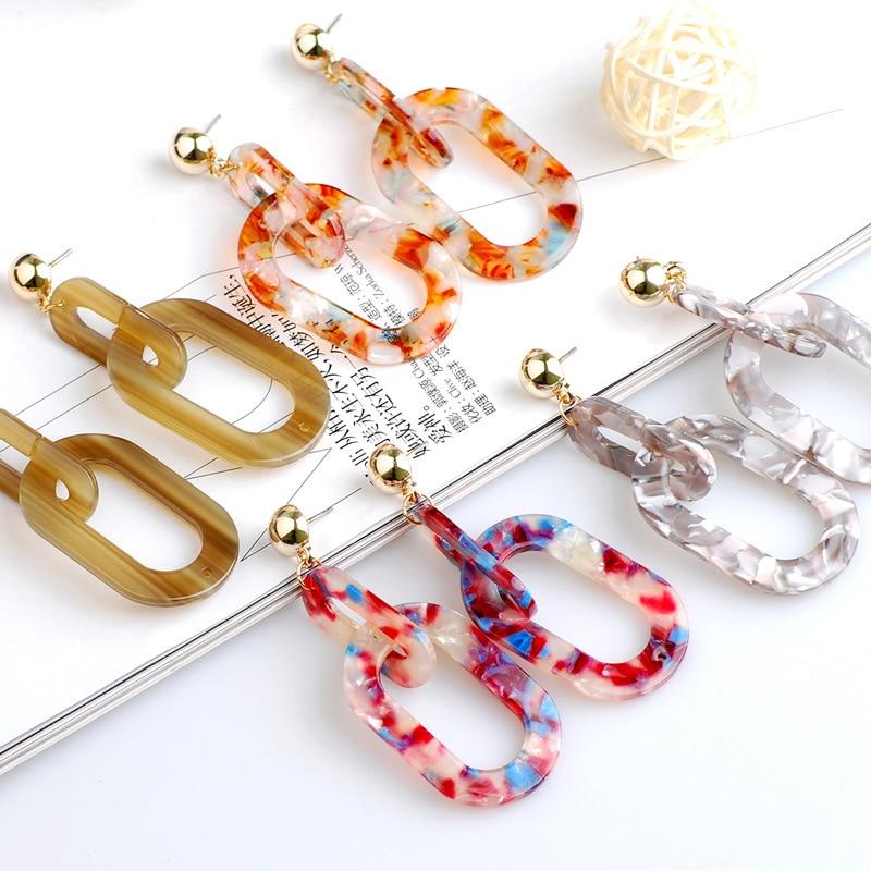 Bohemian Minimalist Earrings Zinc Alloy Double Ring Retro Caramel Color Ear Studs Fashion Acetate Geometric Earrings Female