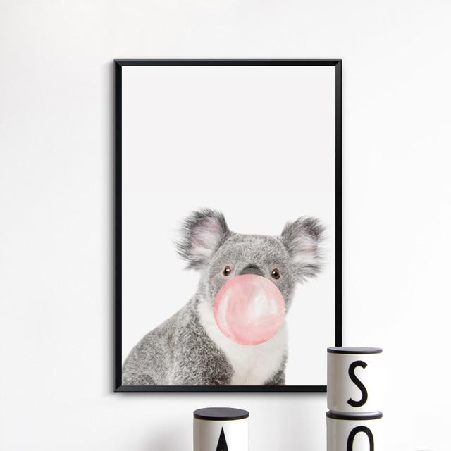 Bubble Chewing Gum Animal Canvas Art - Nordic Style Nursery Decor