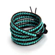 Натуральный камень, хрустальные бусины, кожаный браслет, кожаный браслет, ювелирные изделия, опт, камень