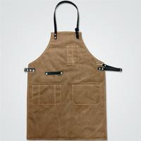 Brown Gray Canvas Long Apron W Leather Strap Barista Cafe Baker Catering Uniform Barber Florist Carpenter