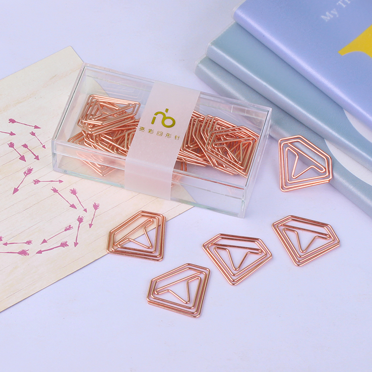 Rose Gold Diamond Paper Clip Cute Gold Pin Paper Clip Office Accessories Paperclips Gadget Metal Paper Clips Bookmark Paperclip