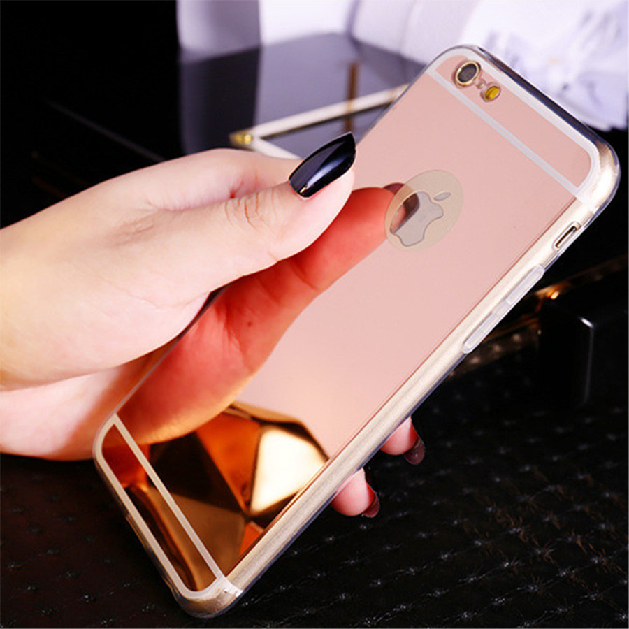 meet f68d5 4a0c2 US $0.9 35% OFF|Hot ! Luxury Mirror Electroplating Soft Clear TPU Cases for  Apple iPhone 6 6S 4.7 inch / 6 Plus 5.5 inch 5 5S SE Back Cover Bags-in ...