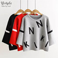 Women's Fashion Letters Graph Crop Sweater Female Casual O-Neck Knitted 3 Colors Short Pullovers 2016 Autumn Winter SW31