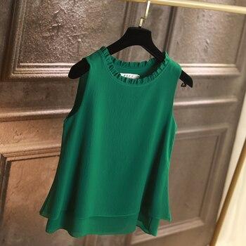 Women Blouses New arrival Summer Chiffon Shirt tops Sexy Beach holiday sleeveless round neck Blouse