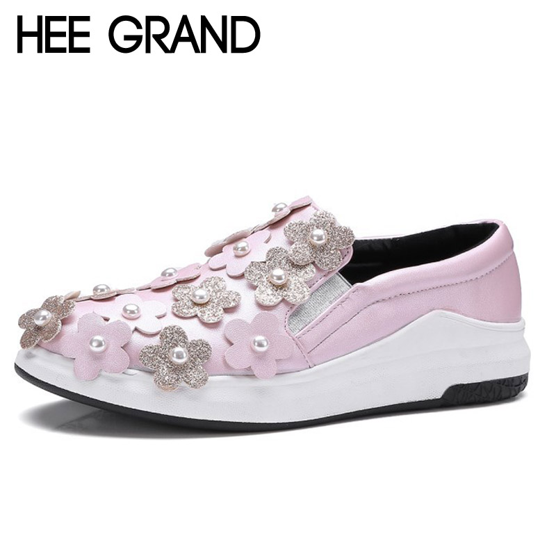 HEE GRAND Flowers Creepers Pearl Glitter Flats Shoes Woman Pink Loafers Comfort Slip On Casual Women Shoes Size 35-43 XWC1112 size 34 43 new 2016 low heel flats women s sandals flip flops women sandals spring summer ladies shoes woman good y0502217f
