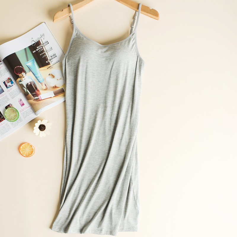 Sexy Nightdress Summer Modal Womens Lingerie Spaghetti Strap Elegant Nightgowns Sleepwear For Girl Black/White Nightwear Q300