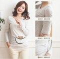 2016 nuevo diseño peek-a-boo ropa para mujeres embarazadas divertido lindo diseño 100% de maternidad de algodón larga manga de la Camiseta