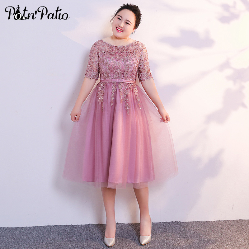 Scoop Neck With Half Sleeves Pink Bridesmaid Dresses Plus Size 2019 A-line Tulle Lace Wedding Party Dresses For Women