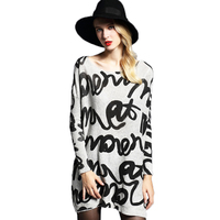 2018 New Oversized Sweater Women Pullover Fashion Batwing Sleeve Letter Print Slash Neck Pullovers Knitted Jumper Woman Sweaters