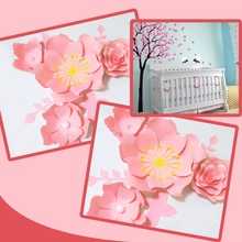 Handmade Pink Rose DIY Paper Flowers Leaves Set For Party Wedding Backdrops Decorations Nursery Wall Deco Video Tutorials