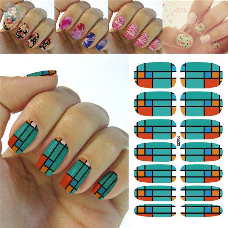 K5676 2016 Latest Beauty Fashion Nail Art Designs Full Nails Wraps Sticker Green Orange font b