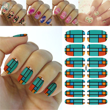 K5676/2016 Latest Beauty Fashion Nail Art Designs Full Nails Wraps Sticker -Green Orange Tartan Pattern Water Nail Decals