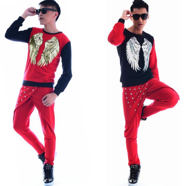 Moda de color rojo punk slim sexy lentejuelas camisa hombres pantalón manga larga Camiseta original adolescente para hombre personalidad escenario cantante baile - 4
