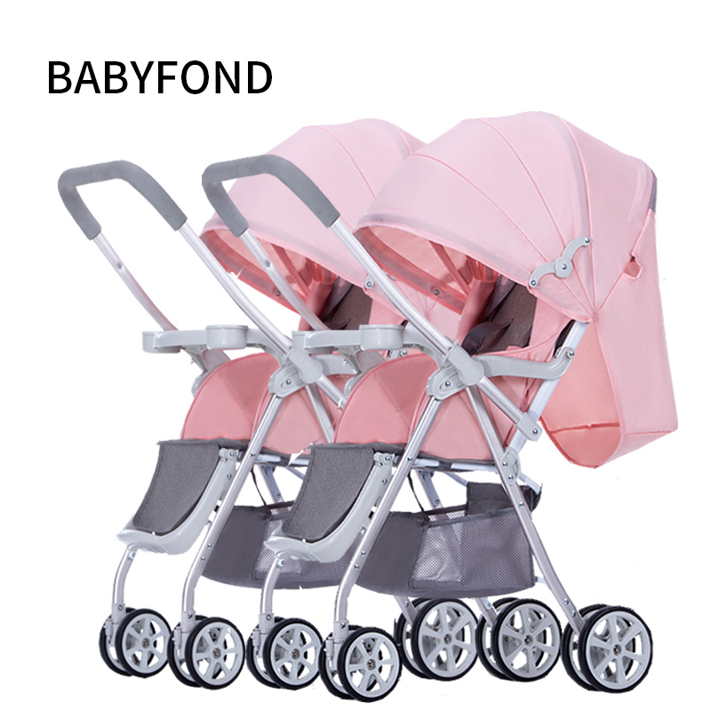 цена на Twins Baby Trolley Can Be Split, Sit, Lie Down, Turn To Light, Fold Two Child Car, Double Carriage.