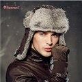 Kenmont зима мужчин на открытом воздухе 100% реальных природных кролика охотник авиатор россия бомбардировщик кепка 2162