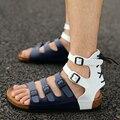Vintage мужская Привет-горячие корк сандалии 2017 летние новые моды Римские сандалии летом прилив мужская высокий верх квартиры сандалии