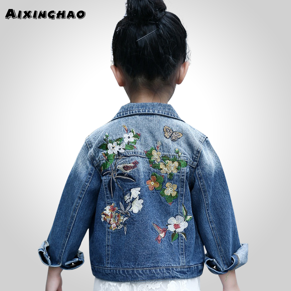 Aixinghao Girls Outerwear & Coats Spring Flower Embroidery Upper Clothes For Girls Teenage Kids Denim Jackets For Girls Clothes spring outfits for kids