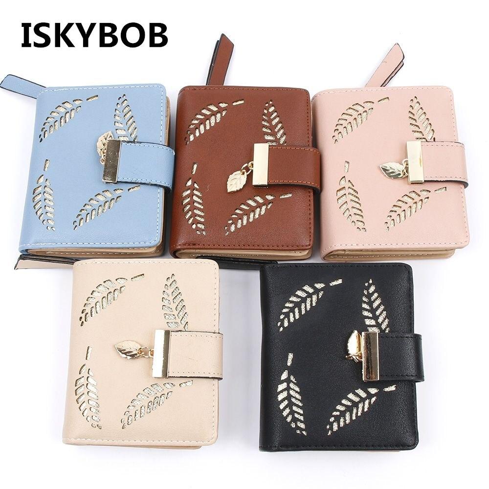 Women s Fashion Leaf Bifold Wallet font b Leather b font Clutch Card Holder Purses font