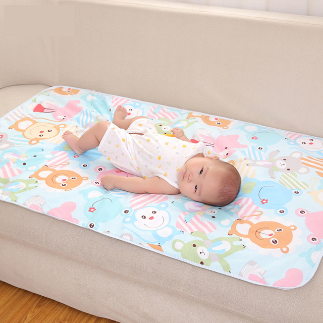 Baby Changing Mat Cartoon Cotton Waterproof Sheet Urine Pad Table Play Cover Infant