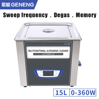 GENENG 15L Ultrasonic Cleaner Power Adjustment Timer Heat Sweep Frequency degassing Memory Ultrasound Cleaning Machine