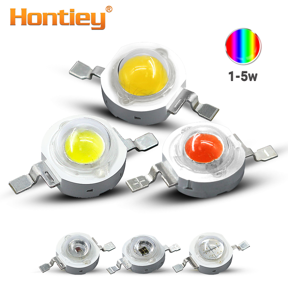 Hontiey LED Chips High Power 1W 3W 5W White Blue Green Yellow Red Pink Amber Cyan Orange 30mil 45mil Lamp Matrix Bulb Light DIY