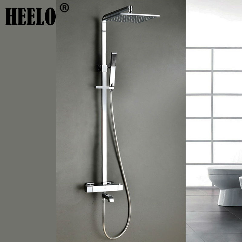 Square wall mounted chrome thermostatic shower column rain for Robinet salle de bain thermostatique