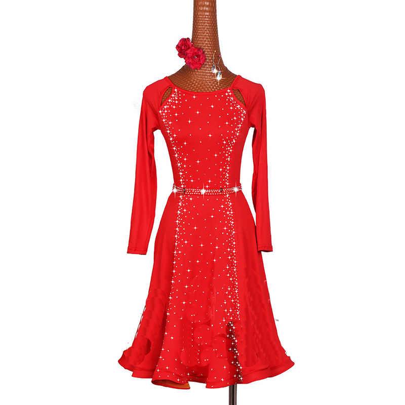 eba00c3d3059 ... New Sexy Latin Dance Dress Women Fashion Style Red Color Salsa Tango  Dresses Lady Rumba Flamenco