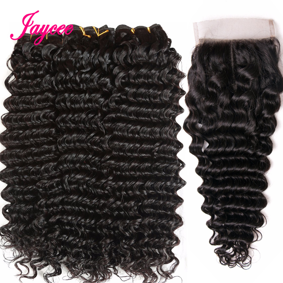 Jaycee Brazilian Deep Wave Bundles With Closure 4*4 Lace Middle Part Closure Human Hair Extensions Weave Bundles With Closure