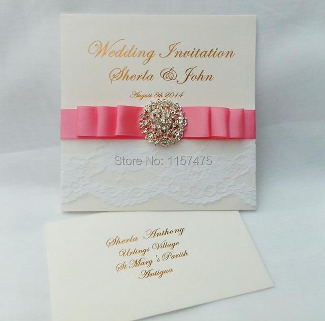 Hi1016 Elegant White Lace Wedding Cards Design With Ribbon And Rhinetone Buckle