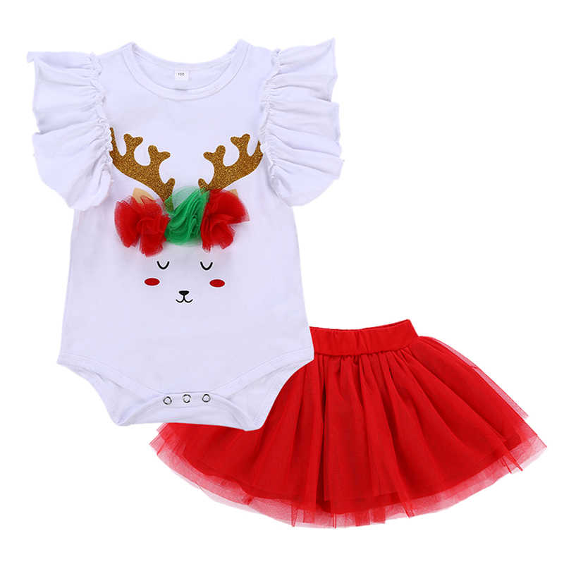 0fe60adc9af6 2Pcs Cute Baby Girl Flare Sleeve Cute Deer Pattern Romper+Tutu Skirt Outfits  Christmas Costume