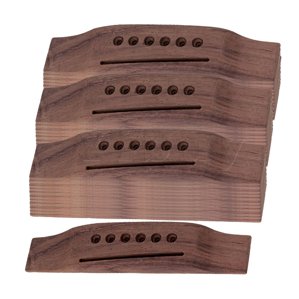 Yibuy 6 String Rosewood Saddle Thru Guitar Bridge for Folk Acoustic Guitar Set of 50 bridge saddle and nut for 6 string acoustic guitar new