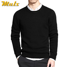 Sweaters men pullover brand polo men sweater hombre clothing cotton spring dress thin O-neck knitwear solid Black Navy Gray(China)