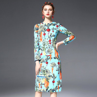 Customized 2018 New Arrival Long Sleeve Slim Dress Hu Pineapple Radish Celery Printed Imitation Linen Knee Length Dresses