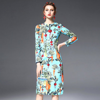 Customized 2018 New Arrival Long Sleeve Slim Dress Hu Pineapple Radish Celery Printed Imitation Linen Knee Length Dresses