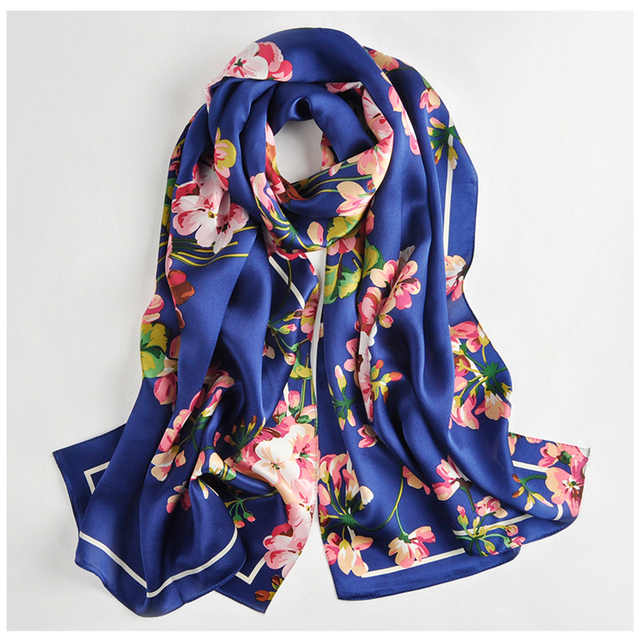 469ffc06d Fall Winter Scarf For Women Shawls And Wraps Long Scarf Silk Headscarf  Ladies Stoles Horse Floral Print Pure Silk Scarf