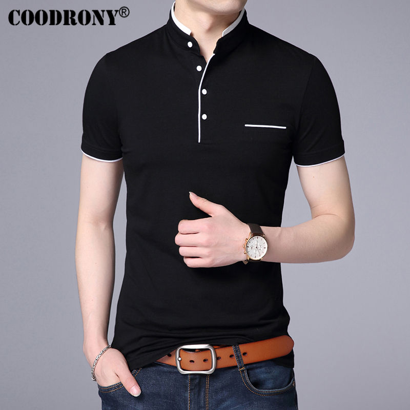 COODRONY Mandarin Collar Short Sleeve Tee Shirt Men 2018 Spring Summer New Top Men Brand Clothing