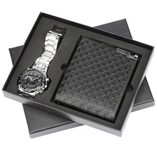 Men Lover Quartz Wrist Watch Purses Gift Set Quartz Steel Bangle Watch Reloj Masculino for Boyfriend Watch Box