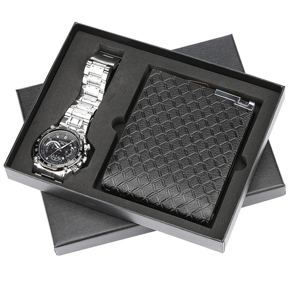 Men Quartz Wrist Watch Purses Wallet Gift Set Quartz Steel Watch Band Reloj Masculino For Boyfriend Watch Box Quartz Watches     - title=