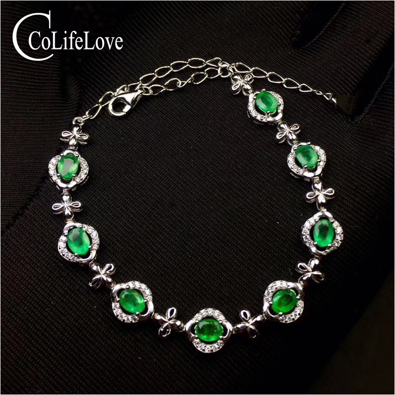 Fashion emerald bracelet for evening party 8 pcs 3 mm * 5 mm natural emerald bracelet 925 sterling silver emerald jewelryFashion emerald bracelet for evening party 8 pcs 3 mm * 5 mm natural emerald bracelet 925 sterling silver emerald jewelry