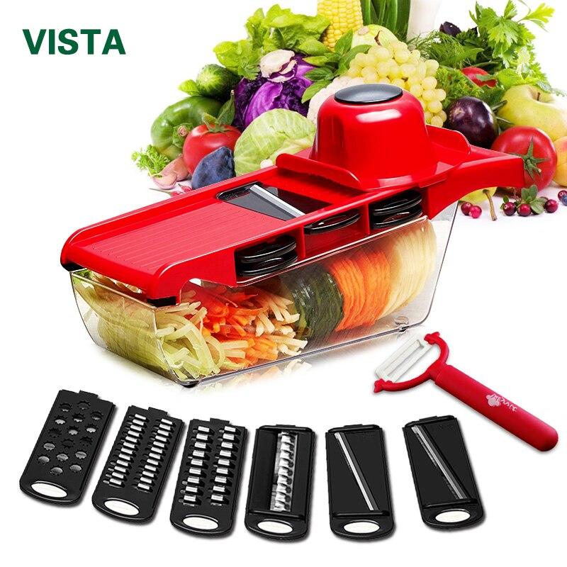 Cortador de verduras Myvit con hoja de acero rebanador de mandolina pelador de patatas rallador de queso de zanahoria rebanador de verduras accesorios de cocina