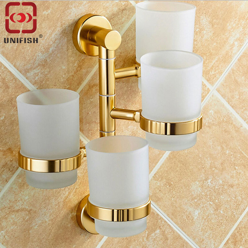 ФОТО UniFish Bathroom Glass Four Tumbler Toothbrush Cups Brass Holder Bracket Set Wall Mounted Brass Gold 4 Cups Daily Supplies