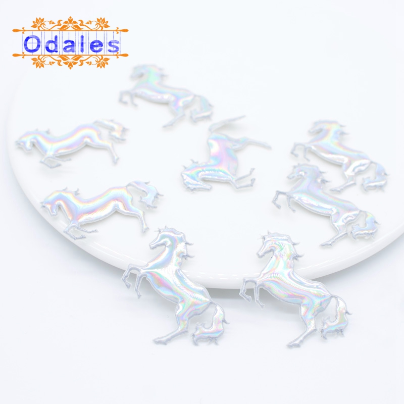 80Pcs 4*3CM NEW Delicate Fly Horse Appliques Glitter Cartoon Unicorn Pads Patches for Wall Clothes Stickers DIY Hair Clips Decor