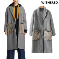 Withered 2017 Winter Coat Trench Women Vintage False Fur Pockets Long Trech Fur Coat Blazer High